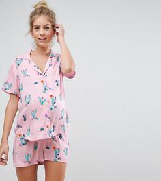 Пижамный комплект с шортами с принтом кактусов ASOS Maternity - Мульти