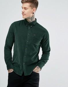 Вельветовая рубашка классического кроя на пуговицах с одним карманом Lee - Зеленый