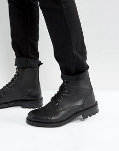 Кожаные ботинки на шнуровке Walk London Sean - Черный