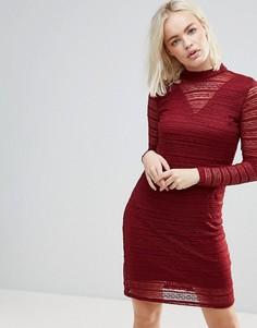 Кружевное платье с полупрозрачными вставками b.Young - Красный