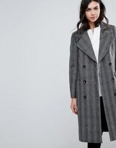 Удлиненное пальто с добавлением шерсти в клетку Selected Madison - Серый