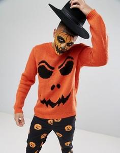 Джемпер цвета тыквы с характерным для Хэллоуина принтом ASOS - Оранжевый