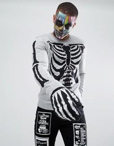 Джемпер с узором скелета ASOS Halloween - Серый