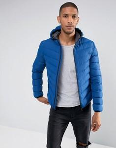 Нейлоновая дутая куртка с капюшоном Brave Soul - Синий