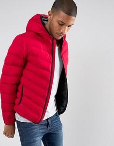 Нейлоновая дутая куртка с капюшоном Brave Soul - Красный