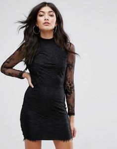 Кружевное облегающее платье Girl In Mind - Черный