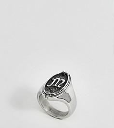 Кольцо с буквой M в готическом стиле Regal Rose - Серебряный