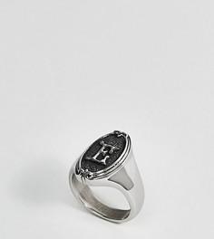 Кольцо с буквой Е в готическом стиле Regal Rose - Серебряный