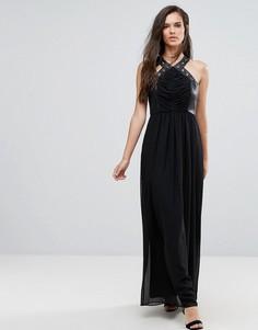 Платье макси с перекрестами, отделкой из искусственной кожи и люверсами BCBG - Черный