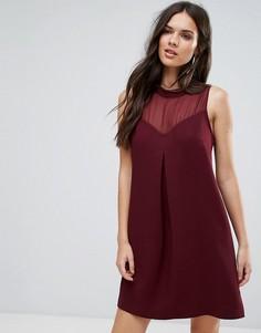 Коктейльное платье с вырезом сердечком и сетчатой вставкой BCBG - Красный