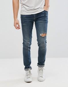 Темные джинсы скинни с рваными коленями ASOS - Синий