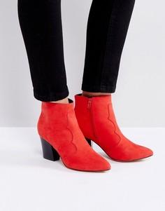 Полусапожки на среднем каблуке London Rebel - Красный