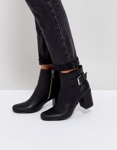 Ботинки на среднем каблуке с пряжками London Rebel - Черный