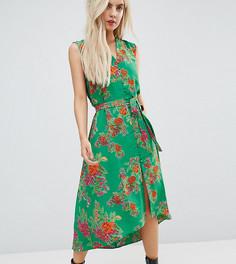 Платье миди на пуговицах с цветочным принтом ASOS PETITE - Мульти