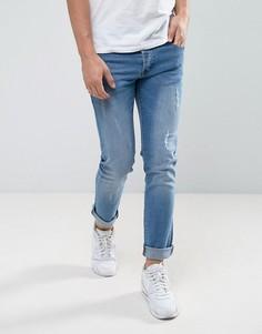 Светлые узкие джинсы с потертой отделкой Loyalty and Faith - Синий
