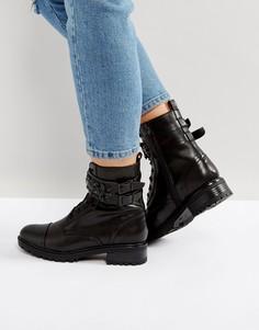 Ботинки в стиле милитари с камнями Miss KG Sax - Черный
