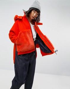 Пальто с капюшоном и искусственным мехом ASOS WHITE - Оранжевый