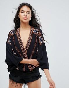 Блузка с вышивкой Free People - Черный