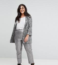 Серебристые фактурные брюки Elvi - Серебряный