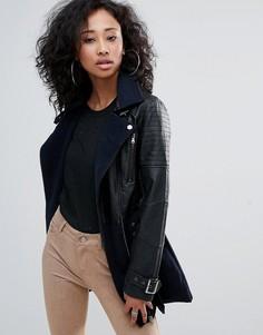 Байкерское длинное пальто Urban Bliss - Черный