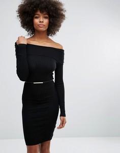 Трикотажное платье с открытыми плечами Lipsy - Черный
