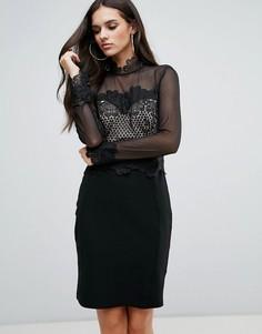Платье с прозрачными рукавами и кружевной отделкой Lipsy - Черный
