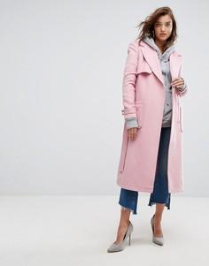 Удлиненное пальто с поясом Boohoo - Розовый