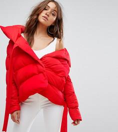 Укороченное дутое пальто с поясом Boohoo - Красный