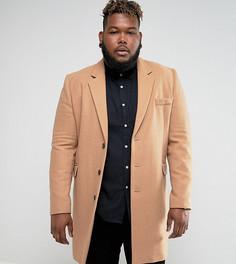 Бежевое пальто с добавлением шерсти ASOS PLUS - Рыжий