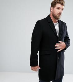 Черное пальто с добавлением шерсти ASOS PLUS - Черный
