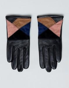 Перчатки для сенсорного экрана из кожи и замши ASOS - Мульти