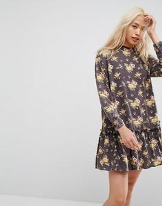 Платье мини с оборкой по краю и цветочным принтом ASOS - Мульти