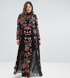 Платье макси с вышивкой и кружевными вставками Frock And Frill Plus - Черный