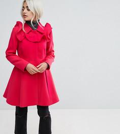 Короткое приталенное пальто с оборками ASOS PETITE - Розовый