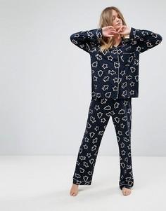 Пижама с новогодним принтом металлик Chelsea Peers - Темно-синий
