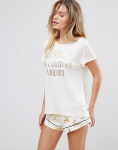 Пижама из топа и шортов с принтом оленей металлик Chelsea Peers - Белый