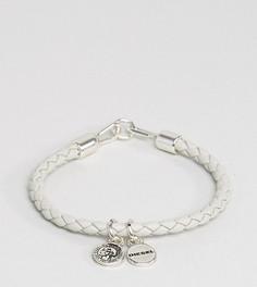 Белый плетеный браслет из кожи Diesel Asanty - Белый