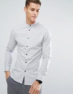 Приталенная рубашка с решетчатым принтом и контрастными пуговицами Selected Homme - Белый