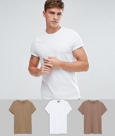 3 обтягивающие футболки с круглым вырезом ASOS - СО СКИДКОЙ - Мульти