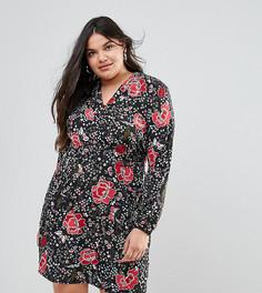 Платье со сплошным цветочным принтом и оборкой по краю Junarose - Мульти