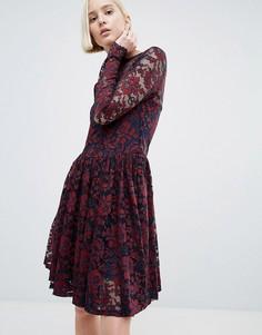 Кружевное платье с удлиненным подолом Ganni Larkin - Коричневый