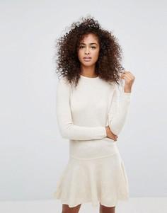 Трикотажное платье из пряжи с добавлением шерсти Ganni Mercer - Кремовый