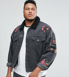 Выбеленная черная джинсовая куртка с вышивкой и воротником из искусственного меха ASOS PLUS - Черный