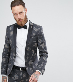 Супероблегающий пиджак с цветочным принтом Noose & Monkey - Серый