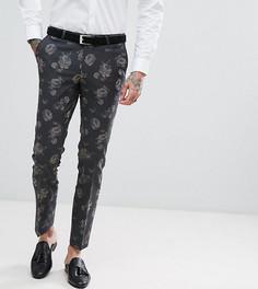 Супероблегающие брюки с цветочным принтом Noose & Monkey - Серый