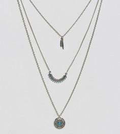 Ожерелье в несколько рядов с подвеской-пером Reclaimed Vintage Inspired - Серебряный