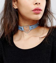 Ожерелье-чокер в джинсовом стиле Reclaimed Vintage - Синий