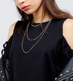 Ярусное ожерелье-чокер с золотистой планкой Reclaimed Vintage Inspired - Золотой