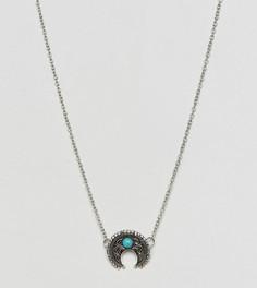 Ожерелье с подвеской из бирюзы Reclaimed Vintage Inspired - Серебряный