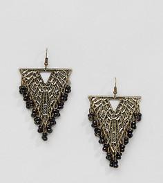 Треугольные серьги-подвески с бисером Reclaimed Vintage Inspired - Золотой